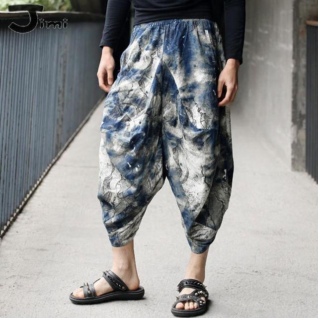 Mens joggers 2016 verano nuevos mens basculador pantalones de algodón de lino floral harem pantalones de los hombres de Los Hombres retro original tie-teñido pantalones harén