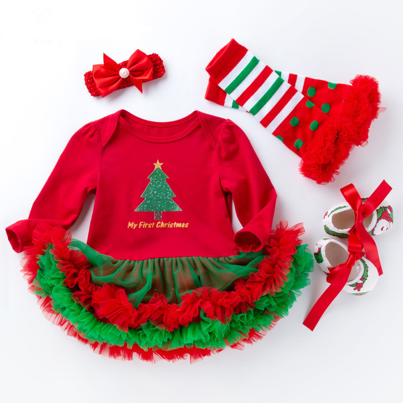 beautiful baby christmas costume 4pcs set 2018 autumn new long sleeve baby dress bodysuit colorful baby girl party dress in dresses from mother kids on
