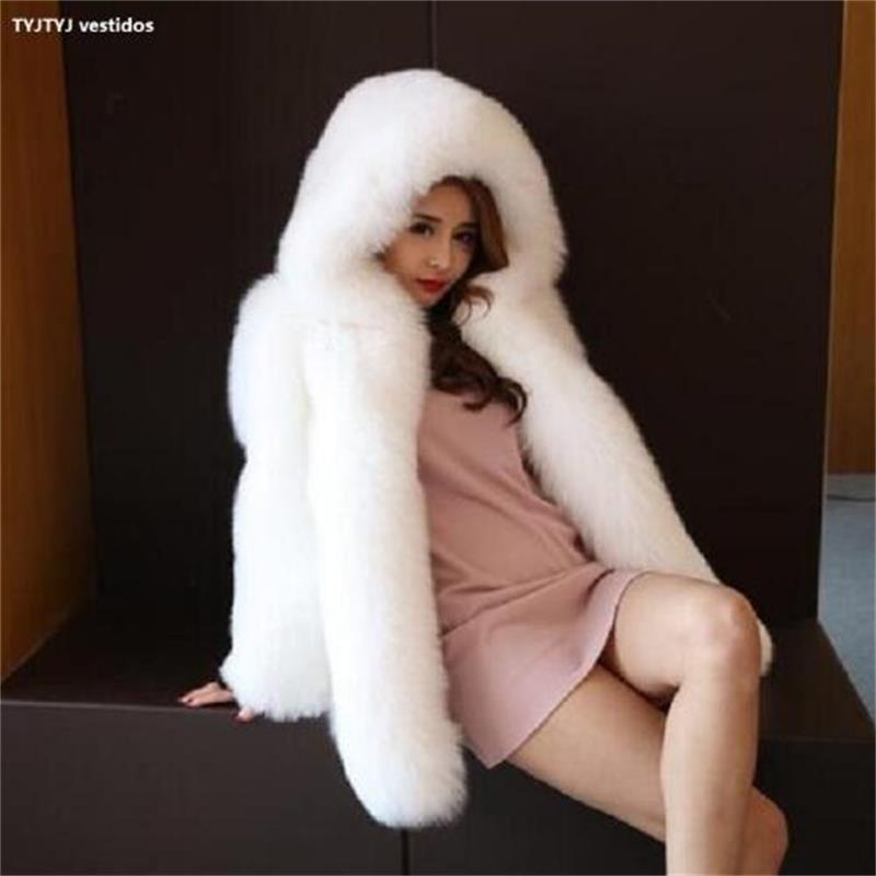 white La 2018 Peau De Haute blue pink Big Longue Manteau Red Artificielle Section Nouveau Fourrure Dans black Capuchon L'épaisse Femmes Tout Chaud Qualité Renard RRqr1Z8w