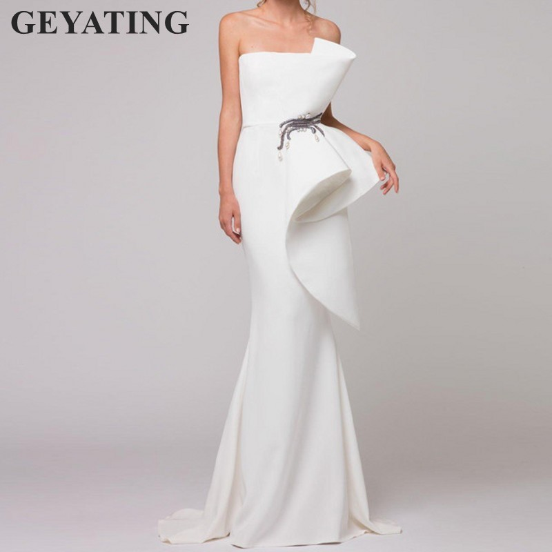 Elegant White Mermaid Long   Evening     Dress   2019 Peplum Vestido de festa Ruffles Beaded Women Formal Party Gown Arabic Prom   Dresses