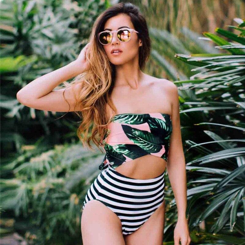 Bxxnxx الأخضر أوراق طباعة مخطط عالية الخصر قطعة واحدة ملابس السباحة خليط النساء