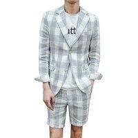 2019 летние мужские костюмы с короткими штанами, 2 предмета (куртка + штаны), Свадебный Выпускной, повседневный стиль, тонкий смокинг для жениха
