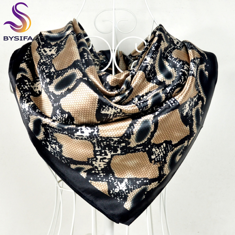 [BYSIFA] Snake Print Black Satin Square   Scarves   Headscarves 90*90cm Winter Women Shawls   Scarves     Wraps   Summer Air-condition Shawl