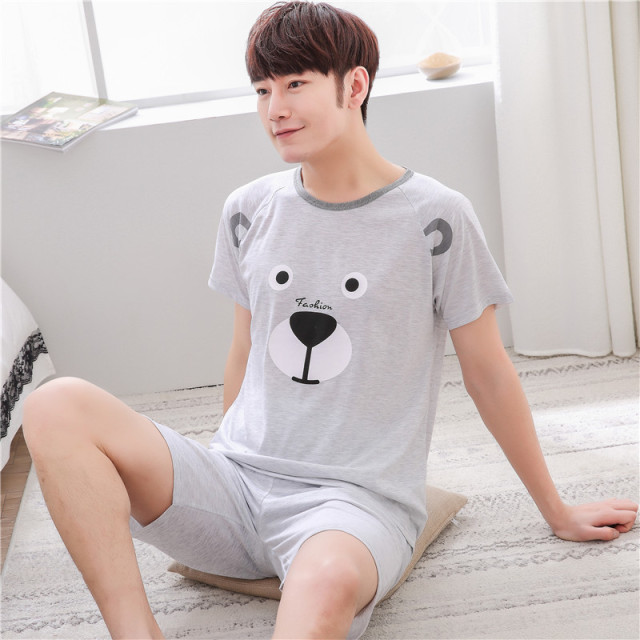 Summer Men's Pajamas set Cotton Sleep shirt & Shorts Suit Male Sexy Sleepwear Suit homewear Pijama Casual Two Piece Set XXXXL