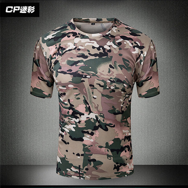 Summer Coolmax Tactical Camouflage T Shirt Men Breathable Quick Dry US Army  Combat T-Shirt  Hunt T shirts