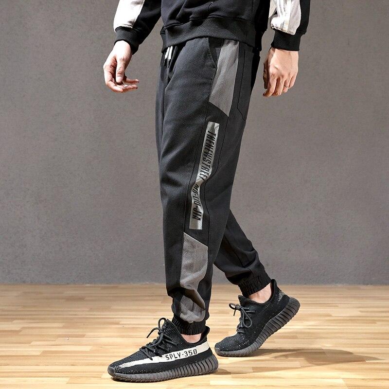 Fashion Streetwear Men Jeans Spliced Loose Fit Casual Cargo Pants Hombre Harem Trousers Slack Bottom Hip Hop Joggers Pants Men
