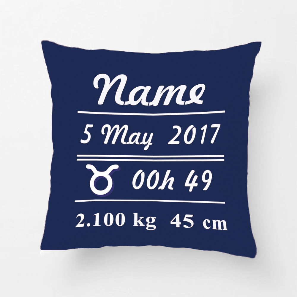 Custom Constellation Throw Pillow Case Baby Boy Birth Data Star Blue Decorative Cushion Cover Perfect Birthday Gift By Lvsure