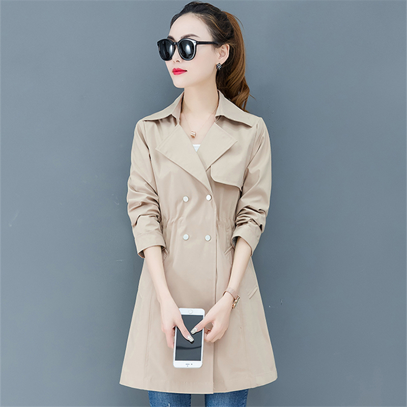 Khaki   Trench   Coat Women Overcoat Spring Autumn New Plus size Korean Fashion Double Breasted Windbreaker Female Long   Trench   Mujer