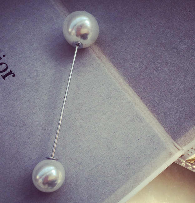 Boy Çift Kafa Simülasyon Inci Moda Broş Takı Kadın Kelime Pin Yaka Kartı Hırka Eşarp Düğme Pin Gelin Broş