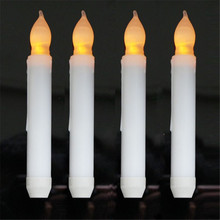 2015 Yellow Flicker Flameless Taper Candles Battery Operated Candlesticks Long Burn Time portacandela For Dinner Restaurant