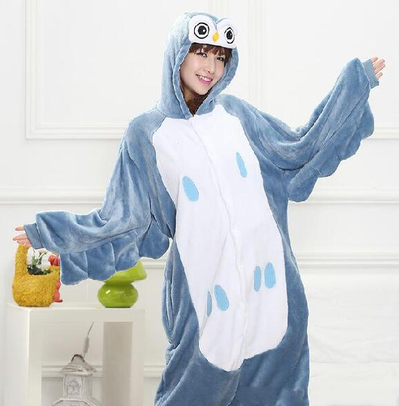 New Hot Sale Lovely Cheap Blue Owl Kigurumi Pajamas Anime Pajamas Cosplay Costume Unisex Adult Dress Sleepwear Halloween