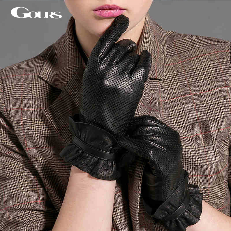 2d98aa3b6 Gours Winter Women Genuine Leather Gloves New Fashion Brand Black Driving  Glove Breathable Goatskin Mittens GSL039