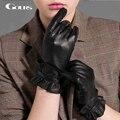 Gours invierno de las mujeres guantes de cuero genuinos de moda de nueva marca negro de conducción al aire libre guante transpirable guantes de piel de cabra gsl039