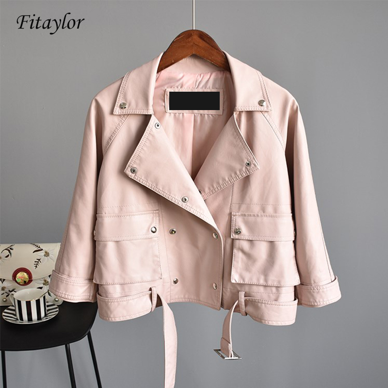 Fitaylor New Pu   Leather   Jacket Women Double Breasted Flare Sleeve Faux Soft   Leather   Jackets Casual Three Quarter Outerwear