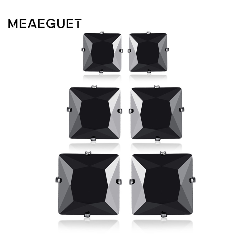 Meaeguet 3 Pairs Set Black Cubic Zirconia Stainless Steel Stud Earrings For Women Men Square Crystal Ear Party Jewelry