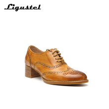 Womens Oxford Shoes Perforated Leather oxfords Ladies Brogues Vintage Casual oxford For Women Footwear