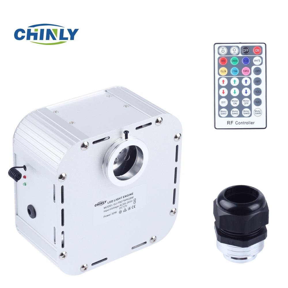 32 w Twinkle 4 niveau-vitesse RGB LED Fiber Optique Lumière Moteur avec 28 clé RF À Distance Contrôleur pour ciel étoilé Effet Power Source