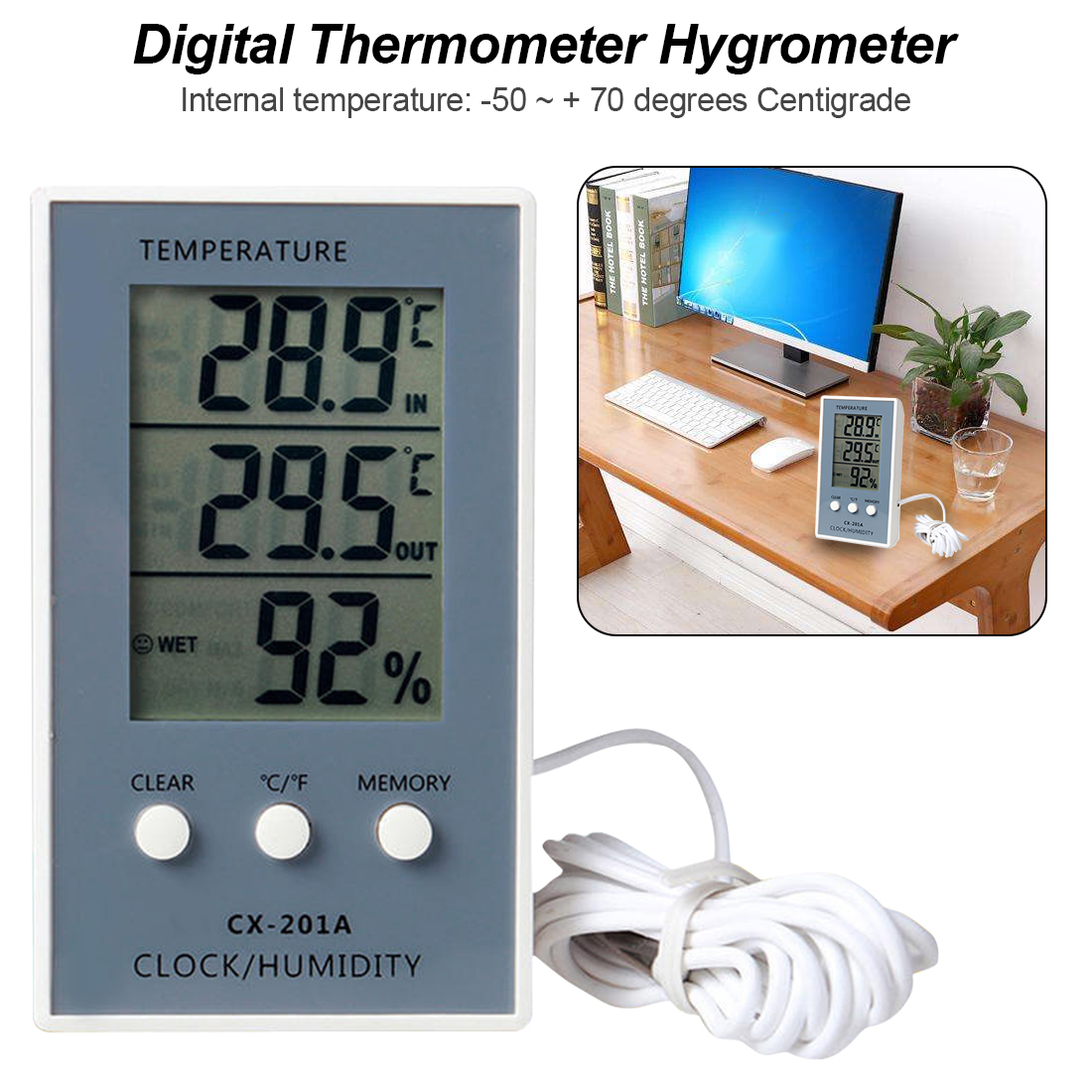 reputable site 459e9 cea6d Thermometer Hygrometer Messen Temperatur Feuchtigkeit Digital LCD Meter  Indoor Outdoor Wetter Station Tester C F Max Min Wert