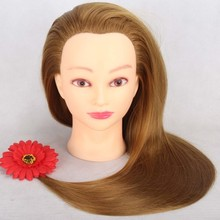 CAMMITEVER Mannequin Head with Gold Hair 20 Professional Bride Hairdressing Cosmetology Doll Training