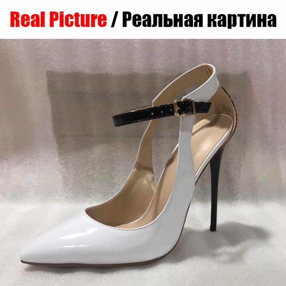 KARINLUNA Yeni Büyük Boy 34-43 Yılan Damarlar Sivri Burun Yüksek Topuklu Patent Pu deri ayakkabı Kadın Rahat Parti Seksi yaz Sandalet