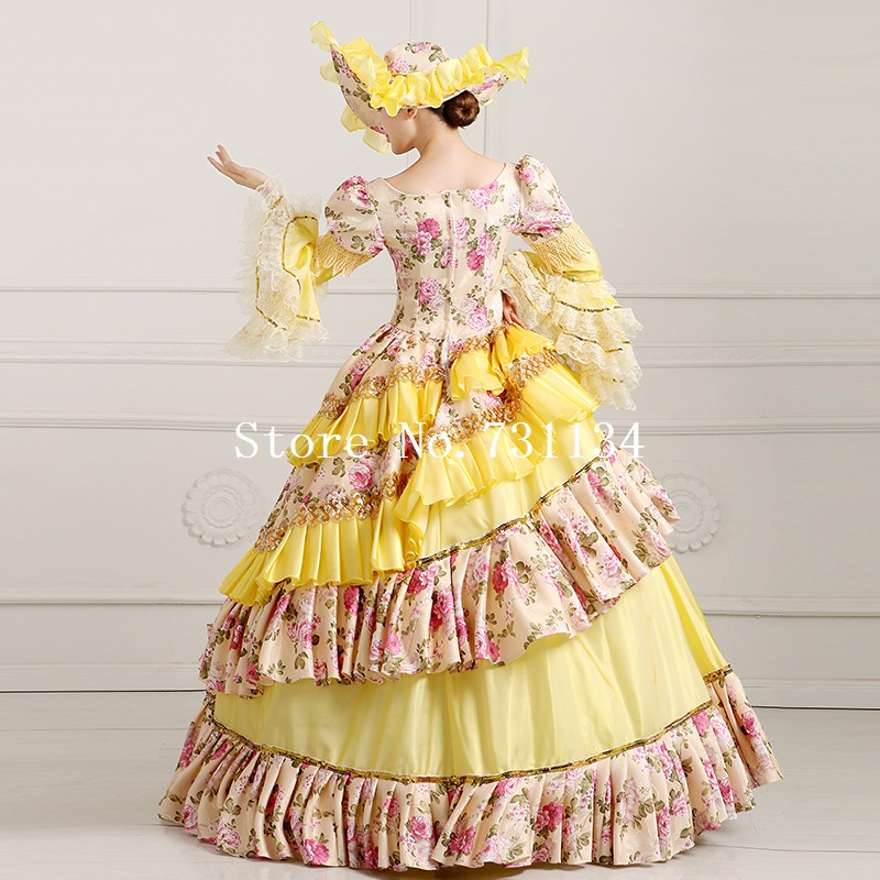18ca65c48167 ... 2016 High Quality Yellow Floral Medieval Victorian Dress Marie  Antoinette Party Costume Victorian Era Ball Gowns ...