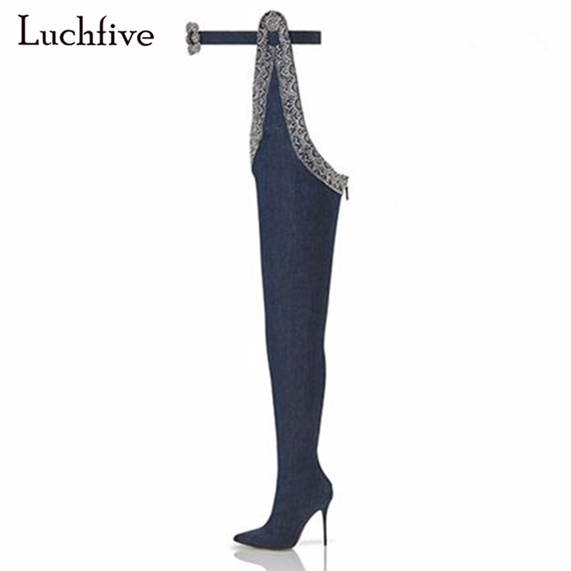Sexy Denim Over The Knee Boots For Women Pointed Toe Thigh High Boots Super Long Boots Fashion Waist Buckle Botas Mujer fashion blue denim boots women over the knee boots point toe sexy belt decor crystal thigh high boot cowboy high heel long botas