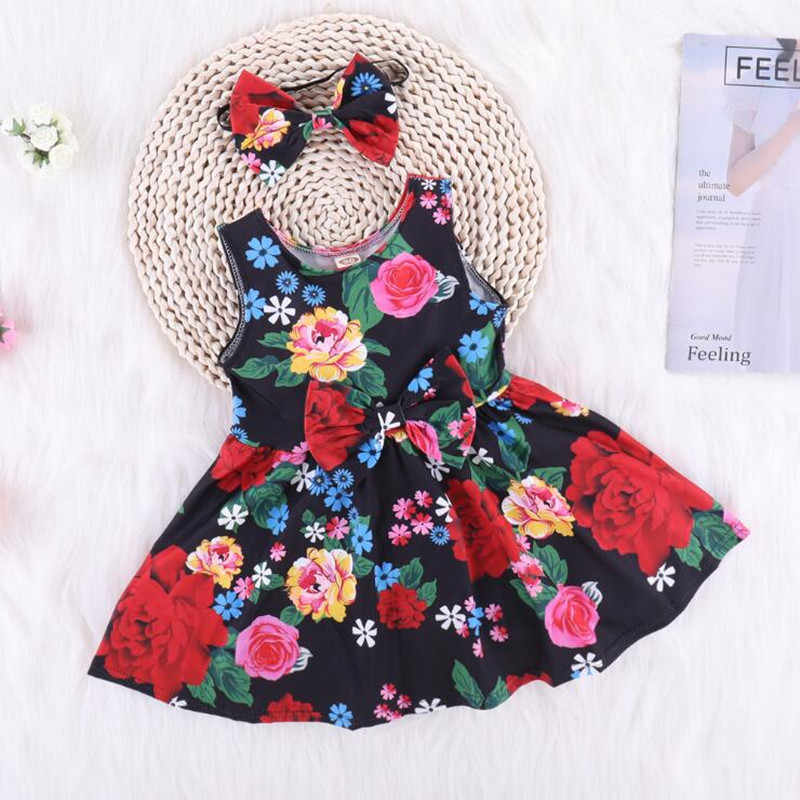 24eb7f611546 Baby Girl Dress Casual Clothing Cotton Bow-tie Hair Band Summer Sleeveless  Floral Hole Love