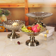 Creative glass fruit tray, living room modern crystal snack home simple European style individual flower dried dish