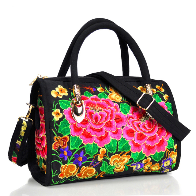 Vintage Women Bag Canvas Flower Embroidered Women Handbag Boho Embroidery Mandala Shoulder Messenger Bag For Woman Girls 2