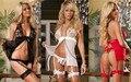 Cardigan Sexy Lingerie Trajes Sexy Da Frente Aberta Erótico Clivagem Vestido Curto Cosplay Erótico Boneca de Gaze Transparente de Renda Das Mulheres