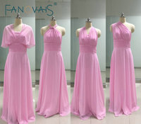 Real Photos Pleats Chiffon Long Bridesmaid Dress Custom Made Cheap Pink Bridesmaid Dresses Convertible Gowns
