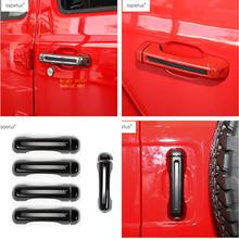 Lapetus Accessories For Jeep Wrangler JL 4 Door Model 2018 2019 Outside & Tailgate Rear Handle Molding Cover Kit Trim