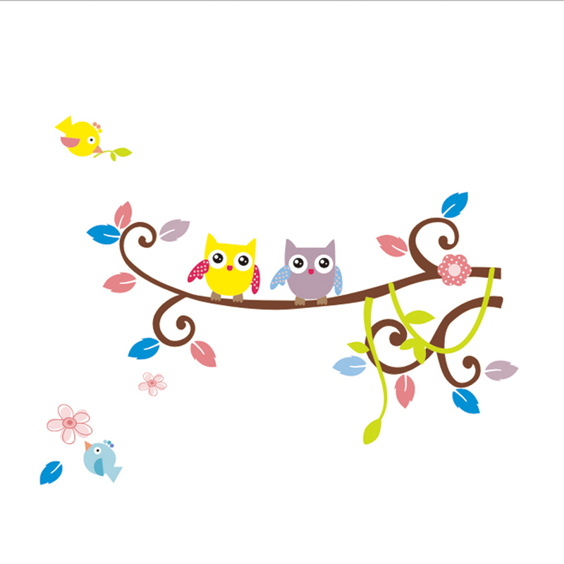 Home Decor Wall Stickers Flower Owl Tree Cartoon Removable Vinyl Decal Wall Stickers for Kids Rooms