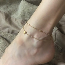 Multilayer Gold Silver Bead Chain Heart Anklet For Women Bohemian Beaded Chians Footwear Leg Bracelets Foot Jewerly A705(China)