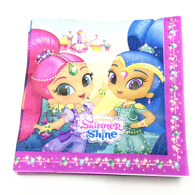 20pcs Lot Shimmer Shine Napkins Baby Shower Party Decoration Cartoon