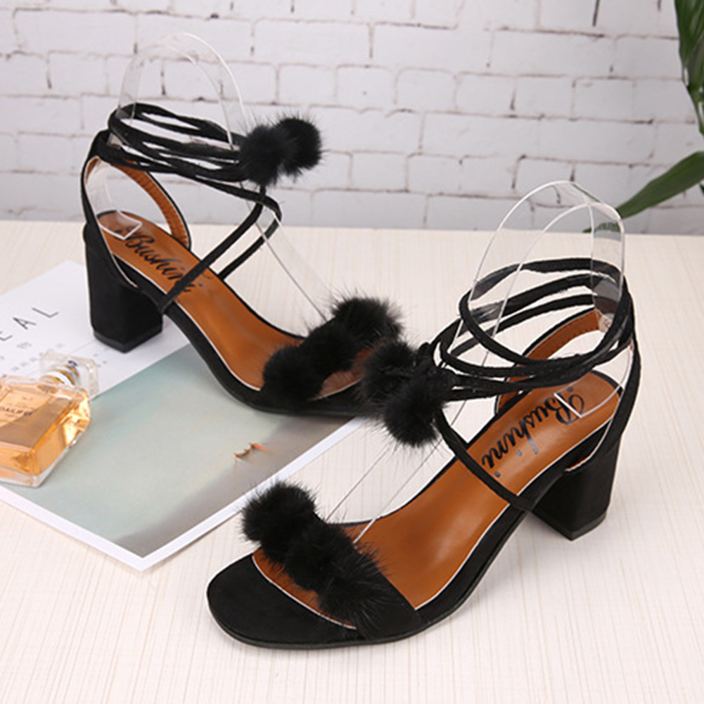 71d04d89c809 Women Ladies Sandals High Heel Peep Toe Pom Pom Lace UP Ankle Strap Pumps  Gladiator Sandals Summer Shoes Sandals For woman