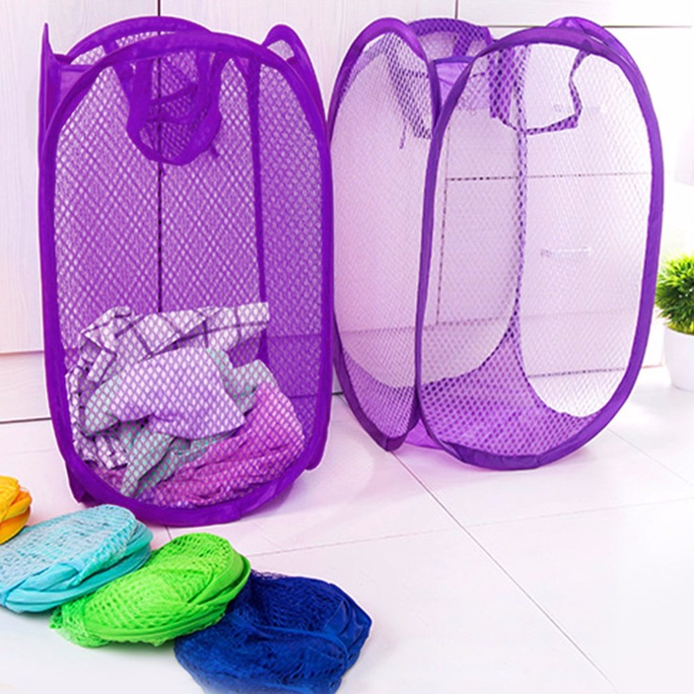Practical Pop Up Washing Clothes Laundry Basket Solid Color Mesh Dirty Clothes Storage Basket Bag