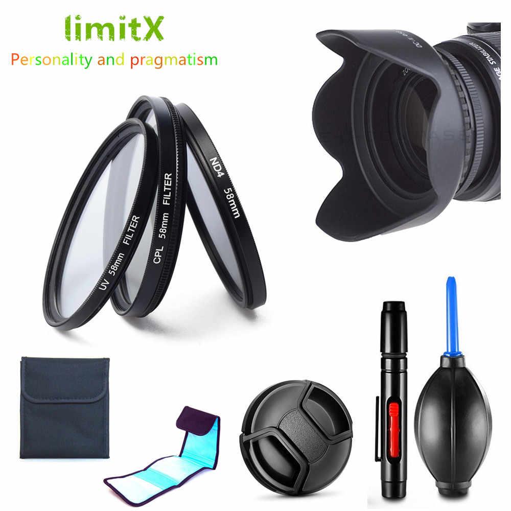 Фильтр УФ CPL ND4 + бленда + Кепки + ручка для очистки Canon EF-M 18-150mm f/3,5-6,3 IS STM объектив EOS M100 M50 M10 M6 M5 M3 M2