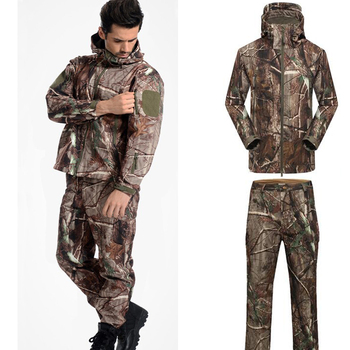 Men's Outdoor Sport Sharkskin  Waterproof Jacket And Pants Tactical Hunting Clothing Military Army Camouflage Uniforms