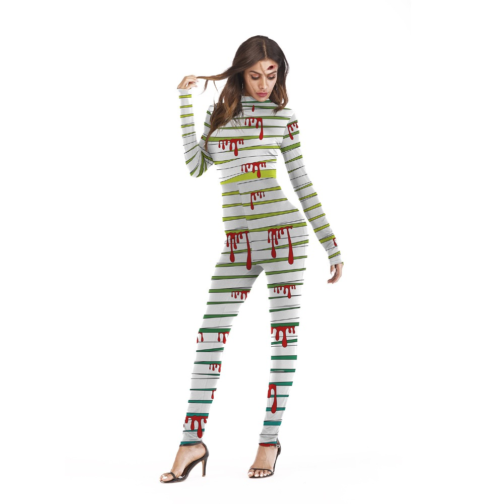 2018 Halloween Costumes For Women Cosplay Bodysuit New Sexy Slim Party Jumpsuit Skeleton Bone & Flora Print Halloween Catsuit