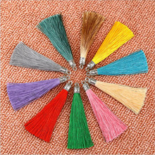 5pcs 90mm Long Mixed Color Imitation Silk Tassel Charm Necklace Earring Tassels with Antique Silver Caps For DIY Jewelry Making