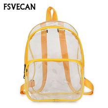 Fashion Transparent Women Backpack Clear School Bags for Teens Girls Waterproof Colorful Bookbag Travel Back Pack Backpacks 2019