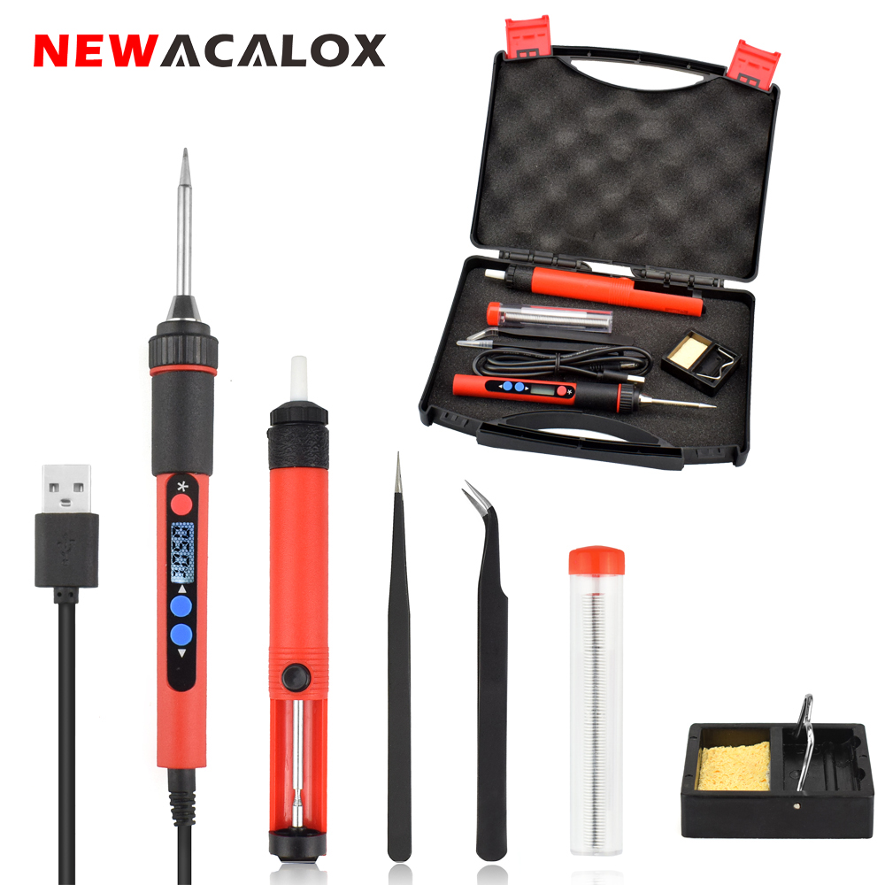 NEWACALOX 5V 10W Digital Temp LCD Adjustable USB Soldering Iron Kit Portable Lead Free Welding Gun Rework Station DIY Tool Box