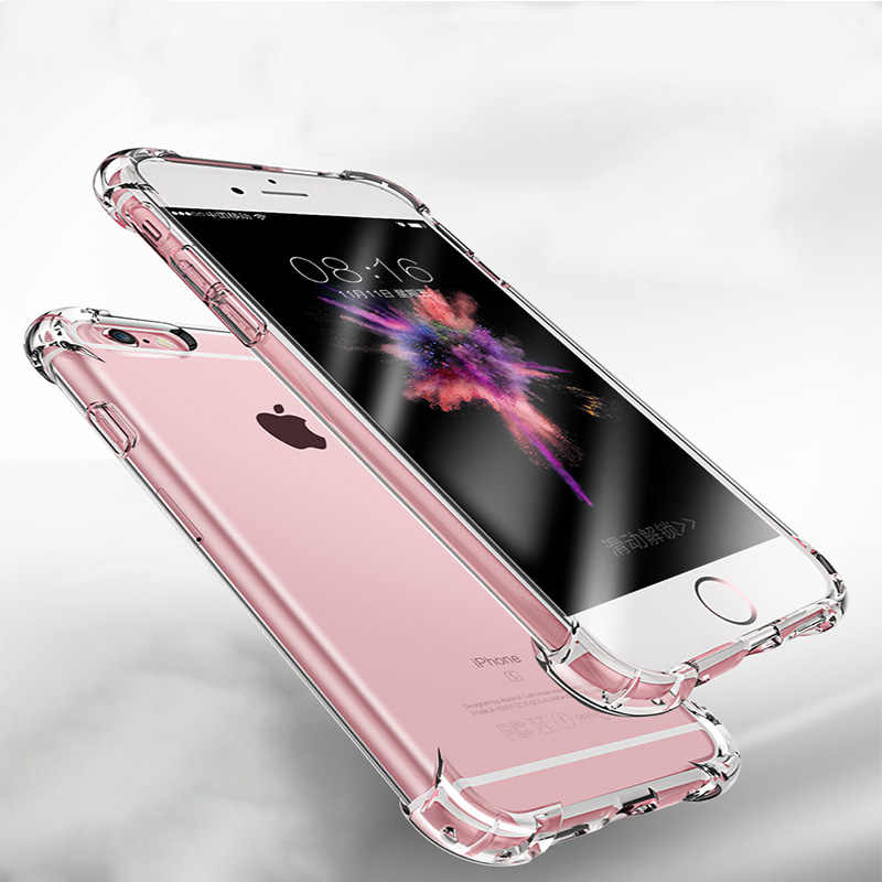 Anti-fall Clear Soft phone Case For iPhone 11 Pro XS Max X XR Shockproof Silicone Luxury Cover for iPhone 7 6 8 Plus