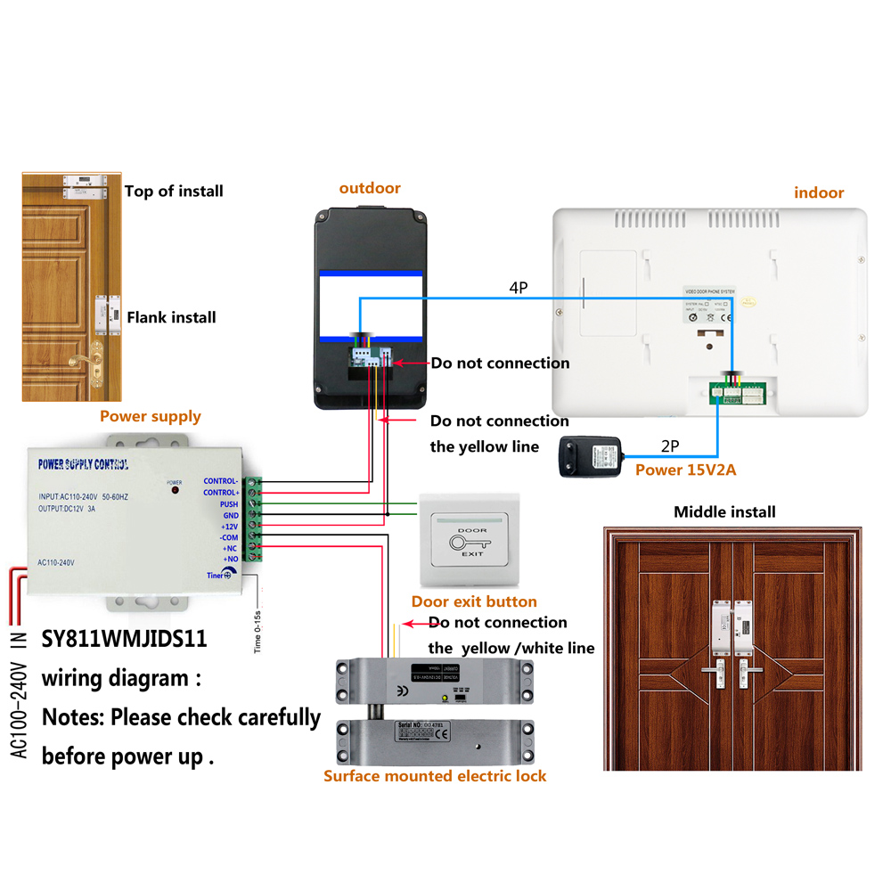 Mountainone 7 Rfid Password Video Door Phone Intercom System Doorbell Fon Wiring Diagram Sy811wmjidsmd11 3