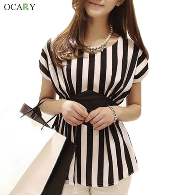 New Spring Striped Print Chiffon Women Blouses Casual Tops For Women Blouse & Shirt Ladies Clothing  Plus Size Body