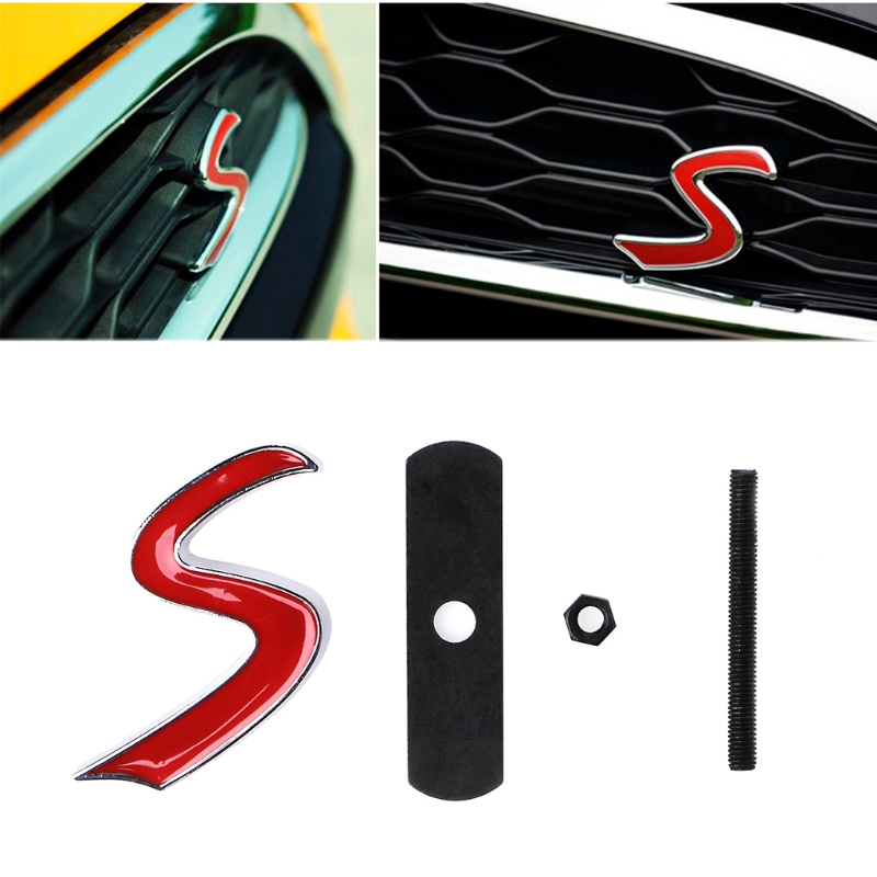 3D Metal S Front Grille Emblem Sticker For Mini Cooper R50 R52 R53 R56 R57 R58 R60 JCW Grill Badge Decals Exterior Accessories