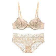 Sexy push up thin cup lace bra set Women's underwear Brief for women bra set lingerie shoulder strap single large bra suit
