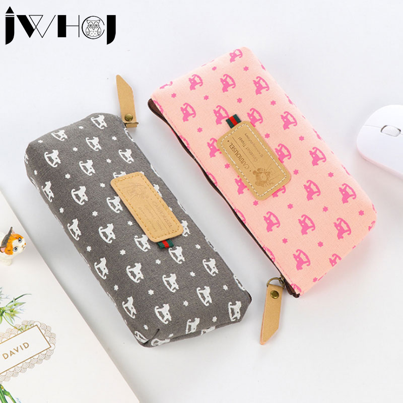 1 x Cute Small Trojan large capacity pen bag Zipper canvas Pencil bags Cosmetic Bag stationery School supplies children gifts