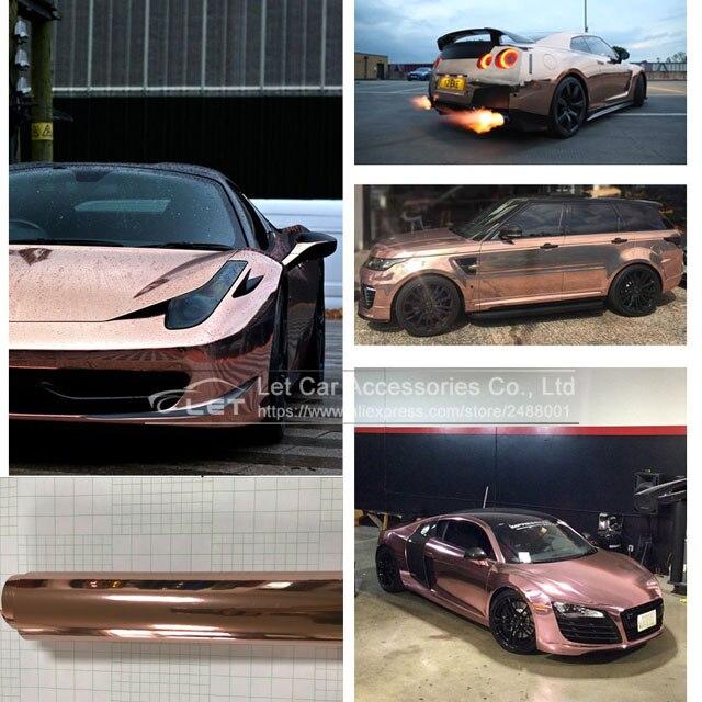 Haute étirable 1.52x20 m/rouleau étanche UV protégé rose or miroir chrome vinyle feuille d'enveloppe Film voiture autocollant